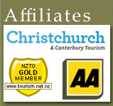 Christchurch & Canterbuy Tourism,NZTO GOLD MEMBER, AA